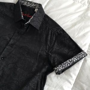 NWOT 🔥 Robert Graham Black Paisley Button Down